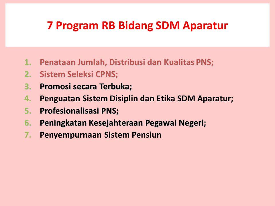 7 Program RB Bidang SDM Aparatur 1.Penataan Jumlah, Distribusi dan Kualitas PNS; 2.Sistem Seleksi CPNS; 3.Promosi secara Terbuka; 4.Penguatan Sistem Disiplin dan Etika SDM Aparatur; 5.Profesionalisasi PNS; 6.Peningkatan Kesejahteraan Pegawai Negeri; 7.Penyempurnaan Sistem Pensiun