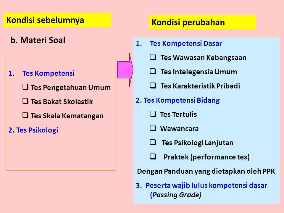 1.Tes Kompetensi  Tes Pengetahuan Umum  Tes Bakat Skolastik  Tes Skala Kematangan 2.
