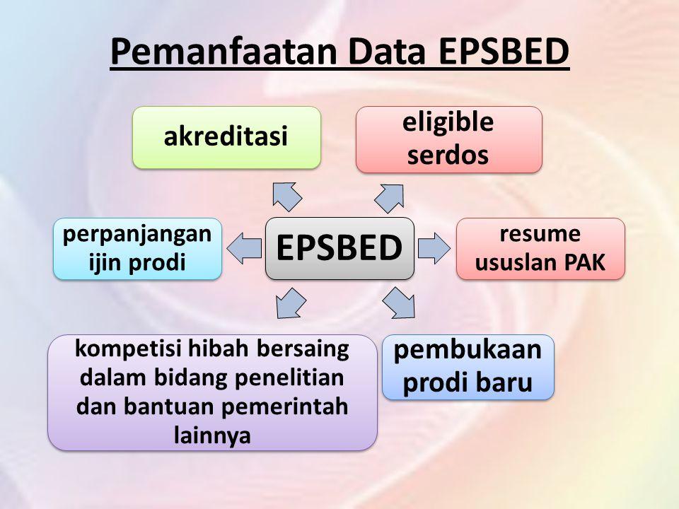 Pemanfaatan Data EPSBED EPSBED akreditasi kompetisi hibah bersaing dalam bidang penelitian dan bantuan pemerintah lainnya eligible serdos resume ususlan PAK pembukaan prodi baru perpanjangan ijin prodi