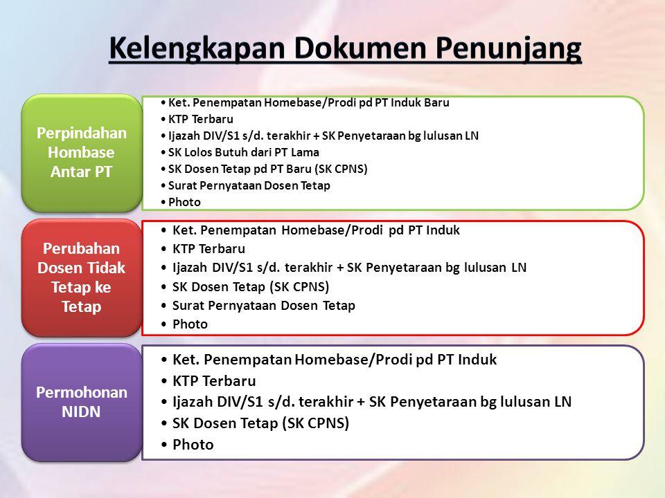 Ket.Penempatan Homebase/Prodi pd PT Induk Baru KTP Terbaru Ijazah DIV/S1 s/d.