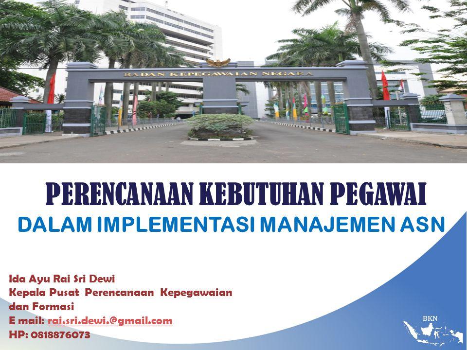 BKN PERENCANAAN KEBUTUHAN PEGAWAI DALAM IMPLEMENTASI MANAJEMEN ASN Ida Ayu Rai Sri Dewi Kepala Pusat Perencanaan Kepegawaian dan Formasi E mail: rai.sri.dewi.@gmail.comrai.sri.dewi.@gmail.com HP: 0818876073