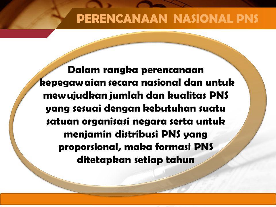 www.themegallery.com Dalam rangka perencanaan kepegawaian secara nasional dan untuk mewujudkan jumlah dan kualitas PNS yang sesuai dengan kebutuhan suatu satuan organisasi negara serta untuk menjamin distribusi PNS yang proporsional, maka formasi PNS ditetapkan setiap tahun PERENCANAAN NASIONAL PNS