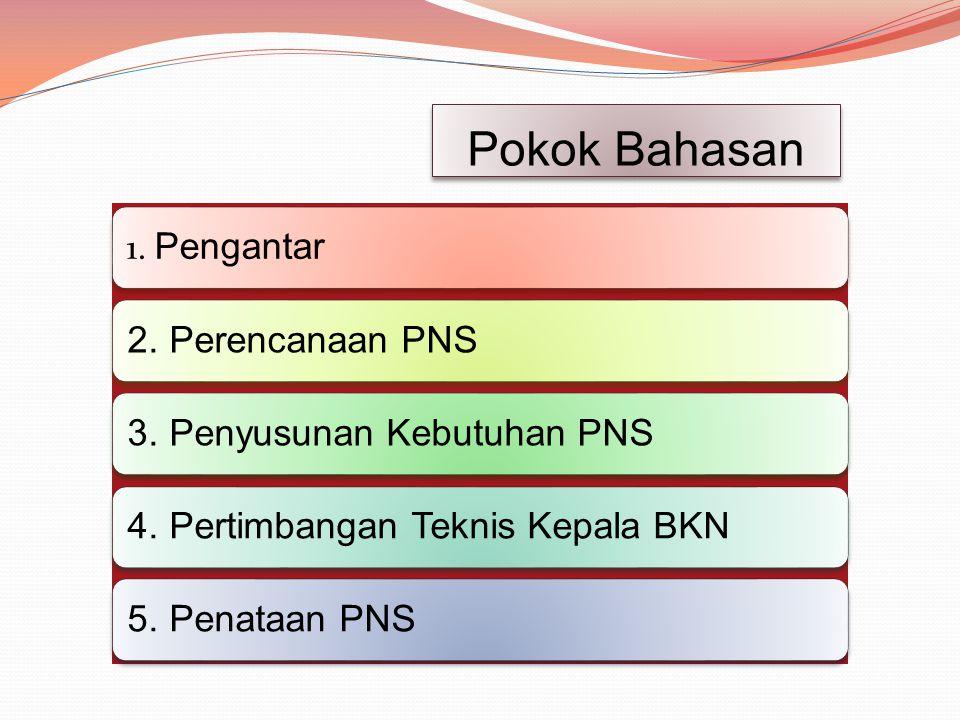 Pokok Bahasan 1.Pengantar2. Perencanaan PNS3. Penyusunan Kebutuhan PNS4.