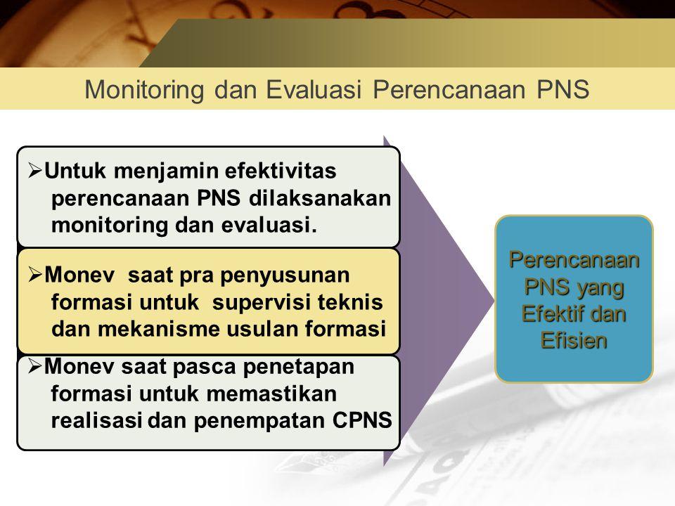 Monitoring dan Evaluasi Perencanaan PNS  Untuk menjamin efektivitas perencanaan PNS dilaksanakan monitoring dan evaluasi.