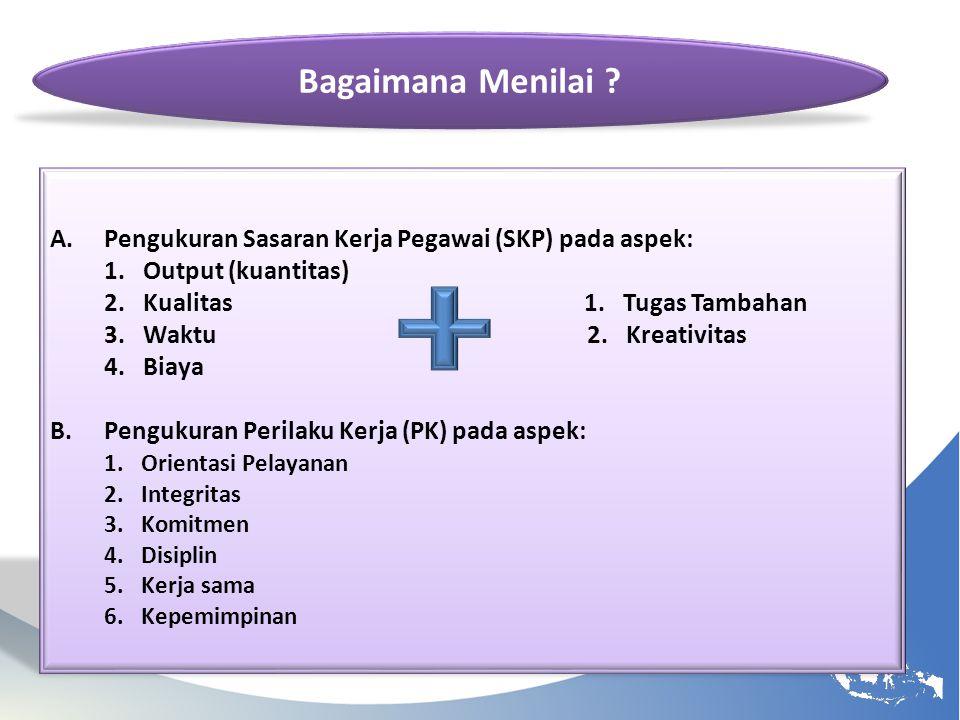 A.Pengukuran Sasaran Kerja Pegawai (SKP) pada aspek: 1. Output (kuantitas) 2. Kualitas 1. Tugas Tambahan 3. Waktu 2. Kreativitas 4. Biaya B.Pengukuran