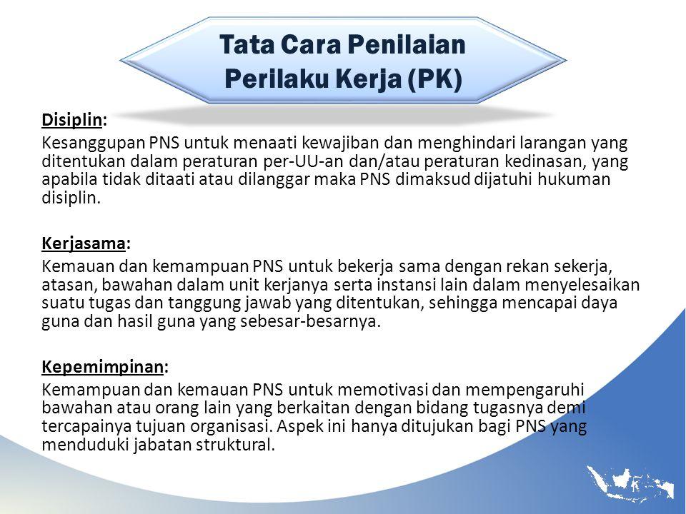 Tata Cara Penilaian Perilaku Kerja (PK) Disiplin: Kesanggupan PNS untuk menaati kewajiban dan menghindari larangan yang ditentukan dalam peraturan per