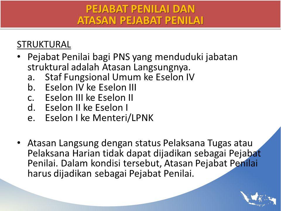 PEJABAT PENILAI DAN ATASAN PEJABAT PENILAI STRUKTURAL Pejabat Penilai bagi PNS yang menduduki jabatan struktural adalah Atasan Langsungnya. a.Staf Fun