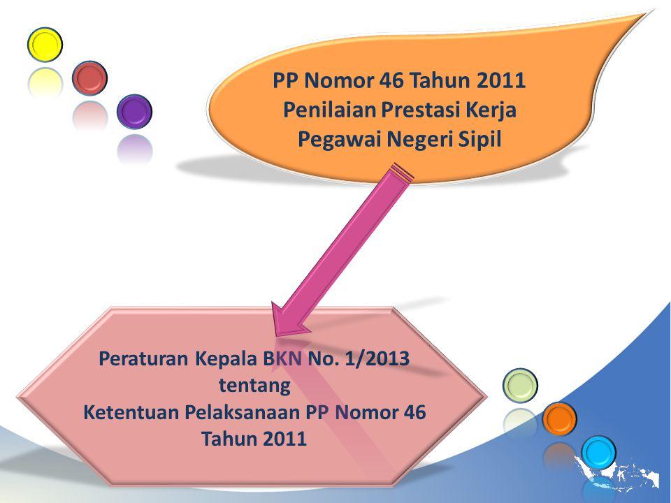 PP Nomor 46 Tahun 2011 Penilaian Prestasi Kerja Pegawai Negeri Sipil Peraturan Kepala BKN No. 1/2013 tentang Ketentuan Pelaksanaan PP Nomor 46 Tahun 2