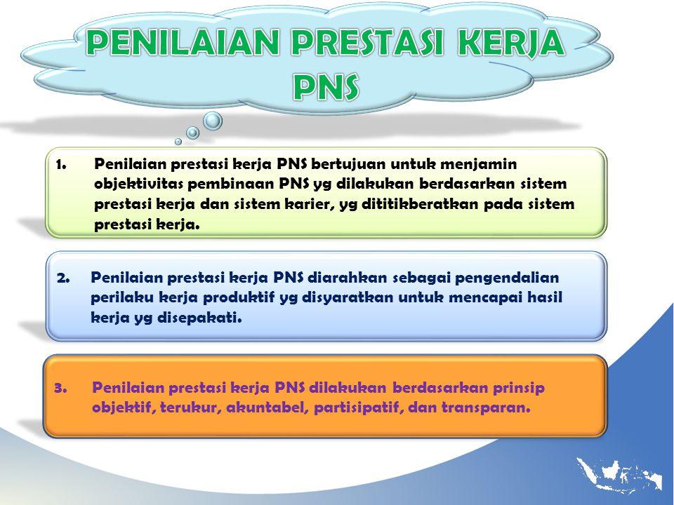 1.Penilaian prestasi kerja PNS bertujuan untuk menjamin objektivitas pembinaan PNS yg dilakukan berdasarkan sistem prestasi kerja dan sistem karier, y