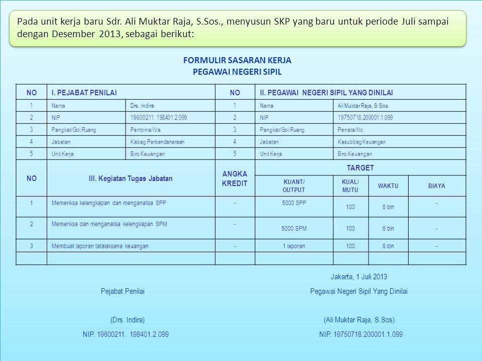 Pada unit kerja baru Sdr. Ali Muktar Raja, S.Sos., menyusun SKP yang baru untuk periode Juli sampai dengan Desember 2013, sebagai berikut: FORMULIR SA