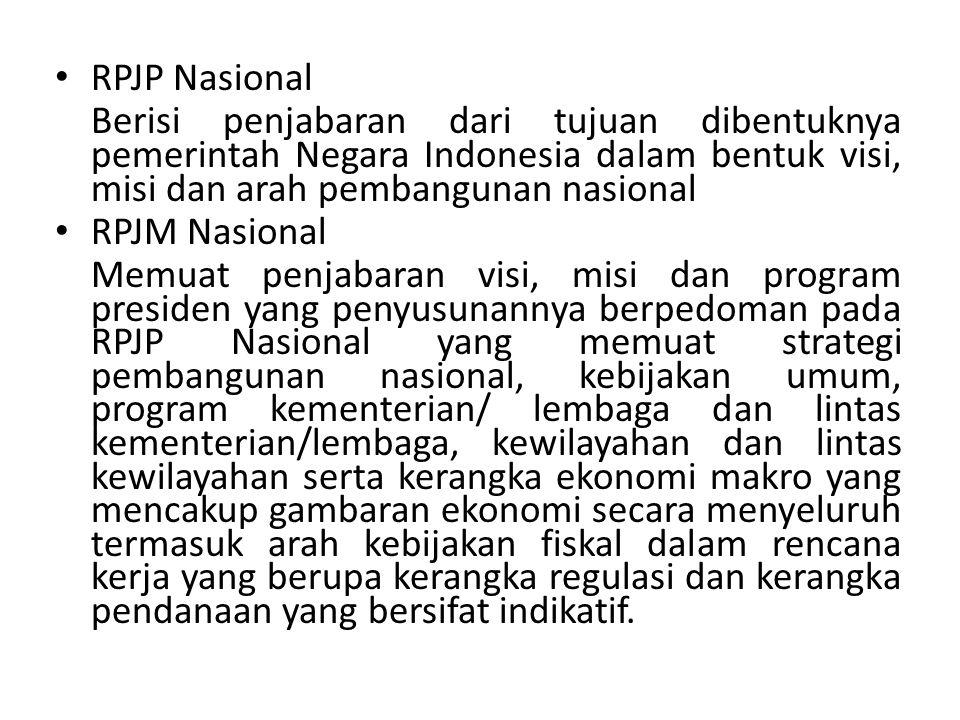 RPJP Nasional Berisi penjabaran dari tujuan dibentuknya pemerintah Negara Indonesia dalam bentuk visi, misi dan arah pembangunan nasional RPJM Nasiona