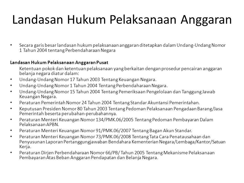 Landasan Hukum Pelaksanaan Anggaran Secara garis besar landasan hukum pelaksanaan anggaran ditetapkan dalam Undang-Undang Nomor 1 Tahun 2004 tentang P