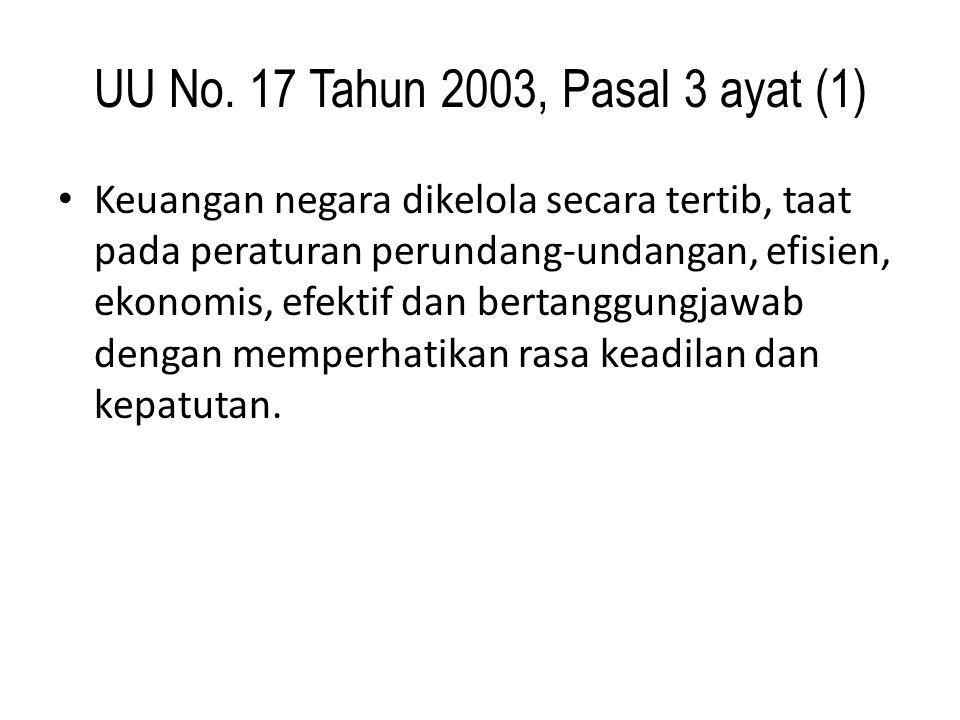 UU No. 17 Tahun 2003, Pasal 3 ayat (1) Keuangan negara dikelola secara tertib, taat pada peraturan perundang-undangan, efisien, ekonomis, efektif dan