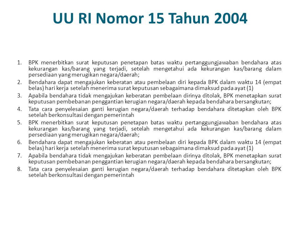 UU RI Nomor 15 Tahun 2004 1.BPK menerbitkan surat keputusan penetapan batas waktu pertanggungjawaban bendahara atas kekurangan kas/barang yang terjadi