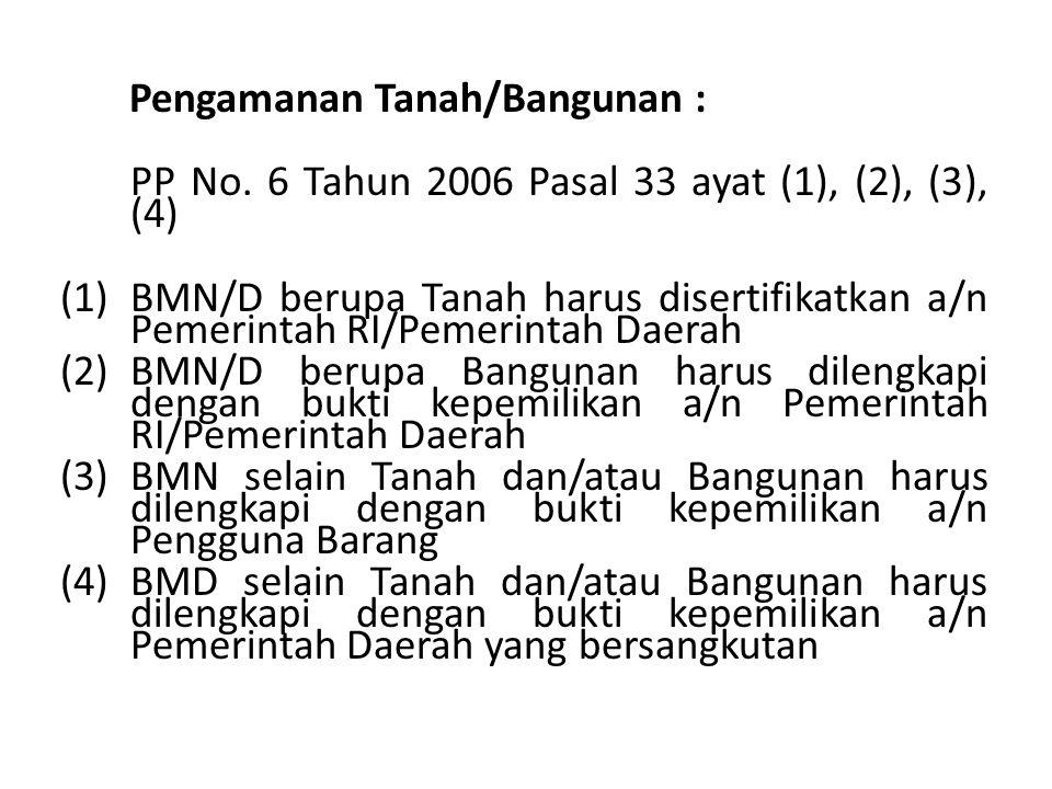Pengamanan Tanah/Bangunan : PP No. 6 Tahun 2006 Pasal 33 ayat (1), (2), (3), (4) (1)BMN/D berupa Tanah harus disertifikatkan a/n Pemerintah RI/Pemerin