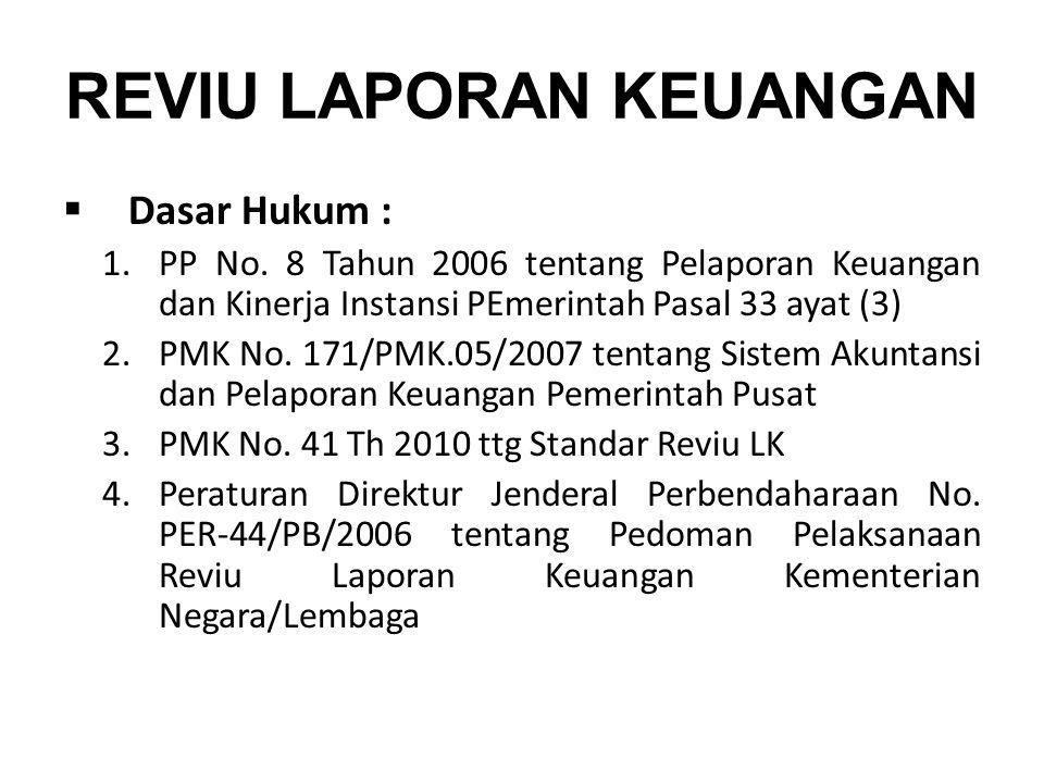 REVIU LAPORAN KEUANGAN  Dasar Hukum : 1.PP No. 8 Tahun 2006 tentang Pelaporan Keuangan dan Kinerja Instansi PEmerintah Pasal 33 ayat (3) 2.PMK No. 17