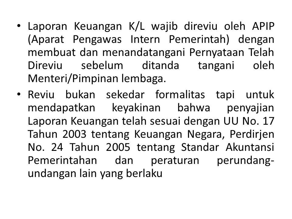 Laporan Keuangan K/L wajib direviu oleh APIP (Aparat Pengawas Intern Pemerintah) dengan membuat dan menandatangani Pernyataan Telah Direviu sebelum di