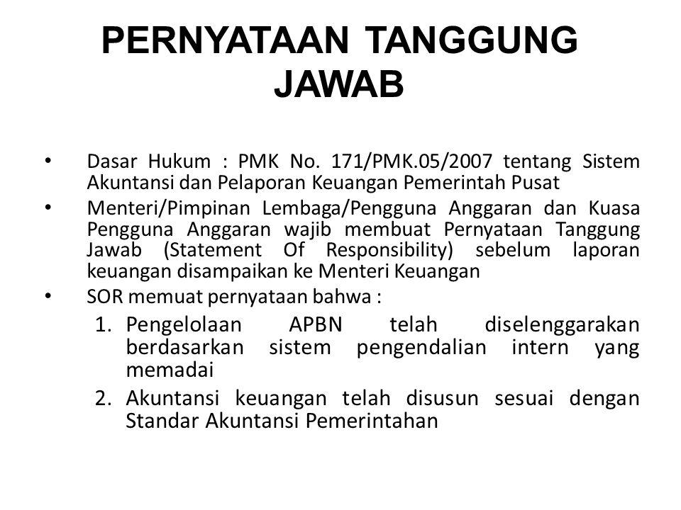 PERNYATAAN TANGGUNG JAWAB Dasar Hukum : PMK No. 171/PMK.05/2007 tentang Sistem Akuntansi dan Pelaporan Keuangan Pemerintah Pusat Menteri/Pimpinan Lemb