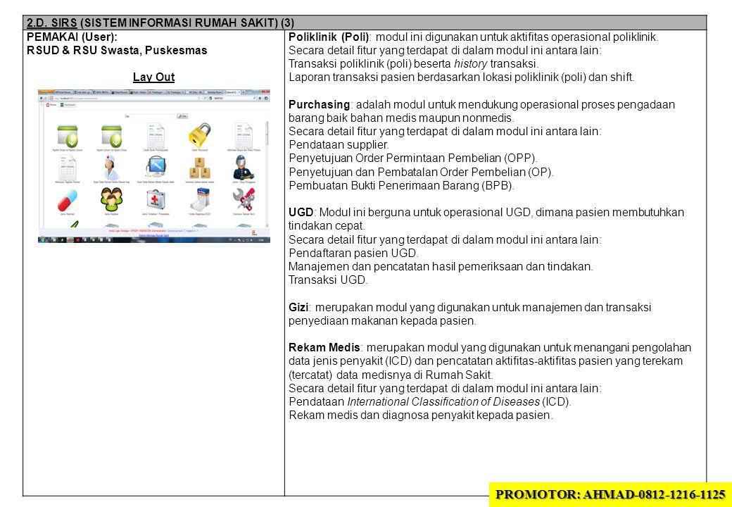 2.D. SIRS (SISTEM INFORMASI RUMAH SAKIT) (3) PEMAKAI (User): RSUD & RSU Swasta, Puskesmas Lay Out Poliklinik (Poli): modul ini digunakan untuk aktifit
