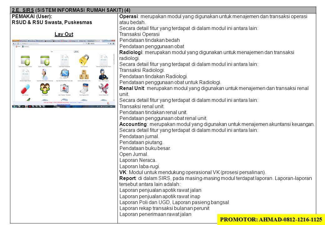 2.E. SIRS (SISTEM INFORMASI RUMAH SAKIT) (4) PEMAKAI (User): RSUD & RSU Swasta, Puskesmas Lay Out Operasi: merupakan modul yang digunakan untuk menaje