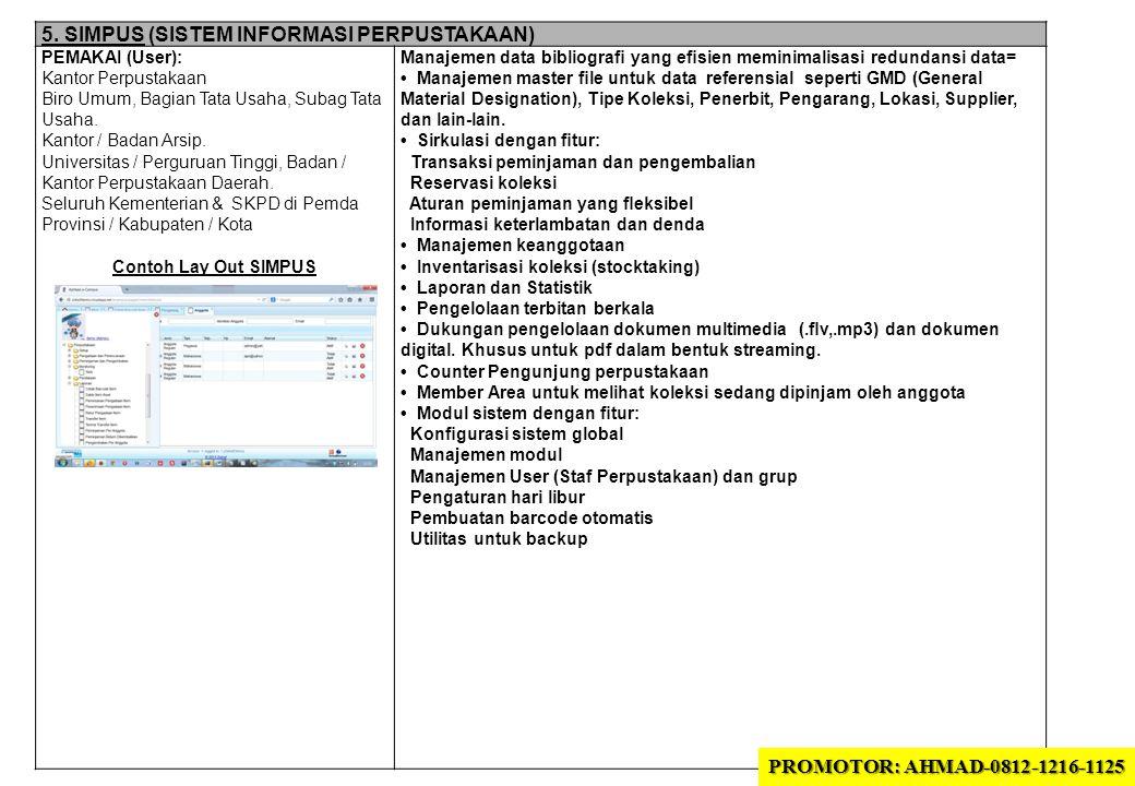 5. SIMPUS (SISTEM INFORMASI PERPUSTAKAAN) PEMAKAI (User): Kantor Perpustakaan Biro Umum, Bagian Tata Usaha, Subag Tata Usaha. Kantor / Badan Arsip. Un