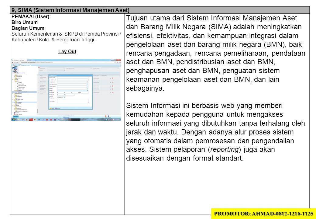 9, SIMA (Sistem Informasi Manajemen Aset) PEMAKAI (User): Biro Umum Bagian Umum Seluruh Kementerian & SKPD di Pemda Provinsi / Kabupaten / Kota. & Per