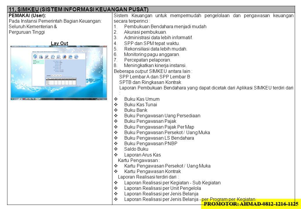 11, SIMKEU (SISTEM INFORMASI KEUANGAN PUSAT) PEMAKAI (User): Pada Instansi Pemerintah Bagian Keuangan: Seluruh Kementerian & Perguruan Tinggi Lay Out
