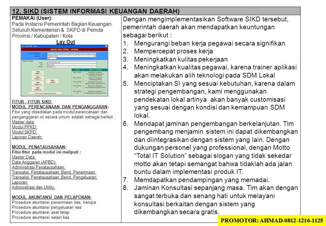 12, SIKD (SISTEM INFORMASI KEUANGAN DAERAH) PEMAKAI (User): Pada Instansi Pemerintah Bagian Keuangan: Seluruh Kementerian & SKPD di Pemda Provinsi / Kabupaten / Kota Lay Out FITUR - FITUR SIKD: MODUL PERENCANAAN DAN PENGANGGARAN: Fitur yang disediakan pada modul perencanaan dan penganggaran ini secara umum adalah sebagai berikut : Master data: Modul PPKD: Modul SKPD: Laporan Daerah: MODUL PENATAUSAHAAN: Fitur-fitur pada modul ini meliputi : Master Data: Data Anggaran (APBD): Administrasi Penatausahaan: Transaksi Penatausahaan Bend.