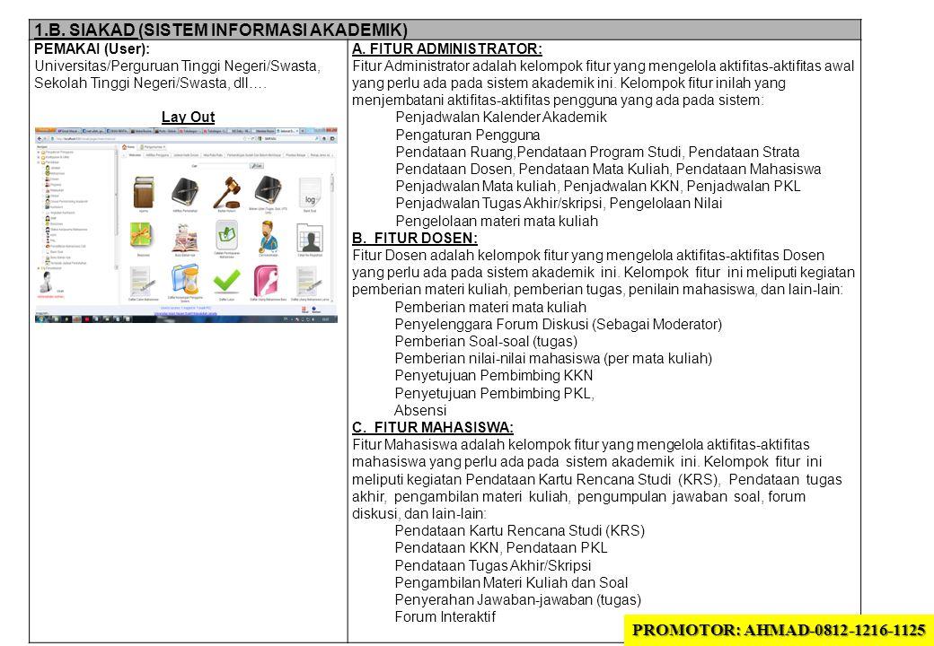 1.B. SIAKAD (SISTEM INFORMASI AKADEMIK) PEMAKAI (User): Universitas/Perguruan Tinggi Negeri/Swasta, Sekolah Tinggi Negeri/Swasta, dll…. Lay Out A. FIT
