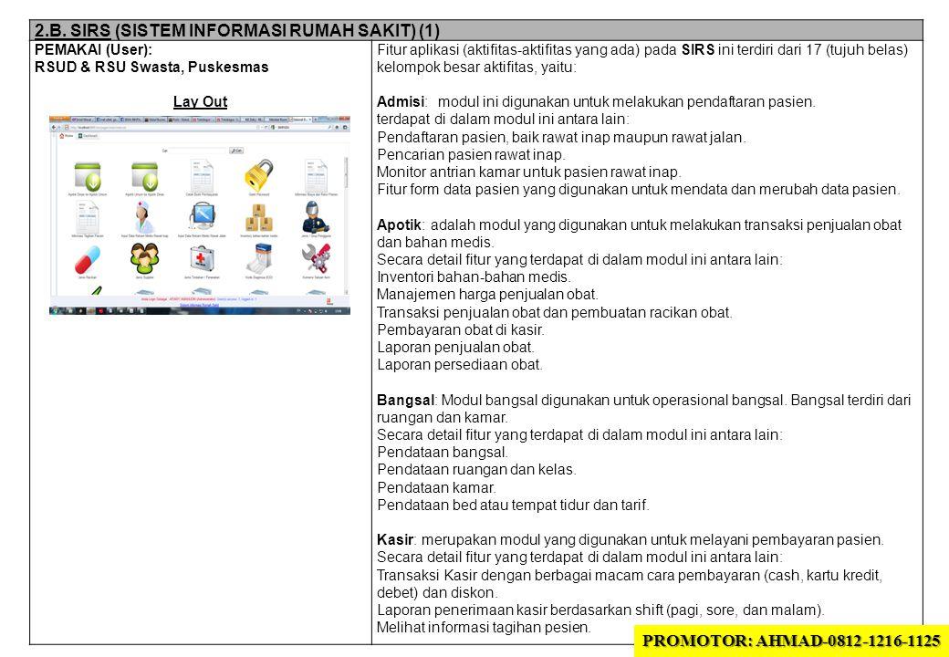 2.B. SIRS (SISTEM INFORMASI RUMAH SAKIT) (1) PEMAKAI (User): RSUD & RSU Swasta, Puskesmas Lay Out Fitur aplikasi (aktifitas-aktifitas yang ada) pada S