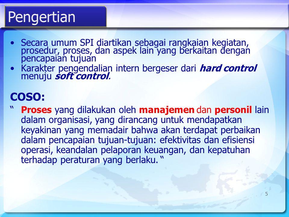 6 Lingkungan Pengendalian Sistem Akuntansi Prosedur Pengendalian Proses yg dipengaruhi manusia Efektivitas & Efisiensi Keandalan LapKeu Ketaatan AICPA (1988) - SAS 55 COSO (1992) – GAO 2001 Perlindungan aset Keandalan data akuntansi Deteksi fraud