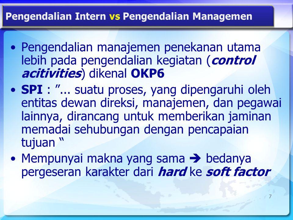 Konsep Dasar SPI SPI merupakan komponen operasi organisasi atau kegiatan yang terpasang secara terus menerus Pengendalian intern dipengaruhi oleh manusia Pengendalian intern hanya memberikan keyakinan yang memadai, bukan keyakinan yang mutlak 8