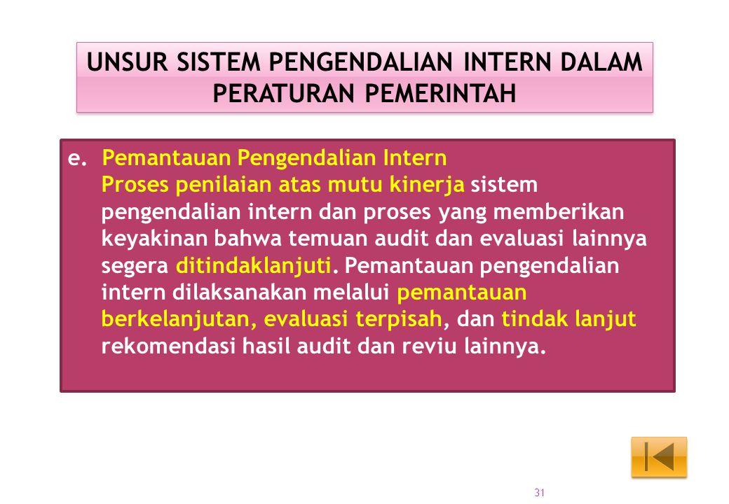 e. Pemantauan Pengendalian Intern Proses penilaian atas mutu kinerja sistem pengendalian intern dan proses yang memberikan keyakinan bahwa temuan audi