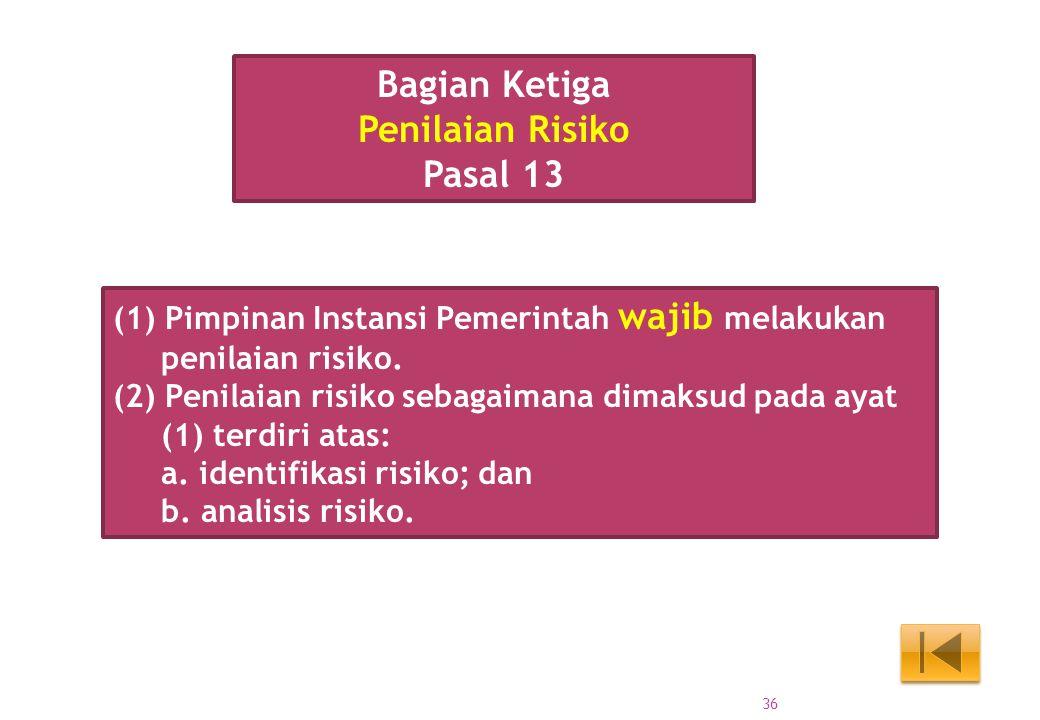 (1) Pimpinan Instansi Pemerintah wajib melakukan penilaian risiko. (2) Penilaian risiko sebagaimana dimaksud pada ayat (1) terdiri atas: a. identifika