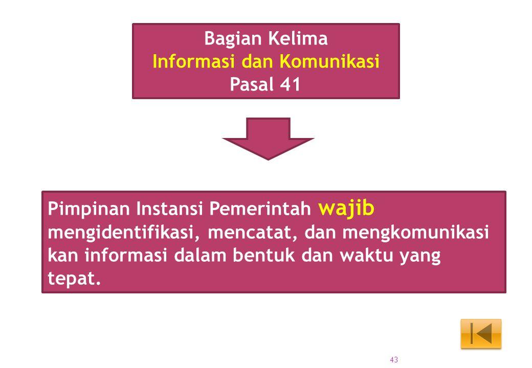 Pimpinan Instansi Pemerintah wajib mengidentifikasi, mencatat, dan mengkomunikasi kan informasi dalam bentuk dan waktu yang tepat. Bagian Kelima Infor