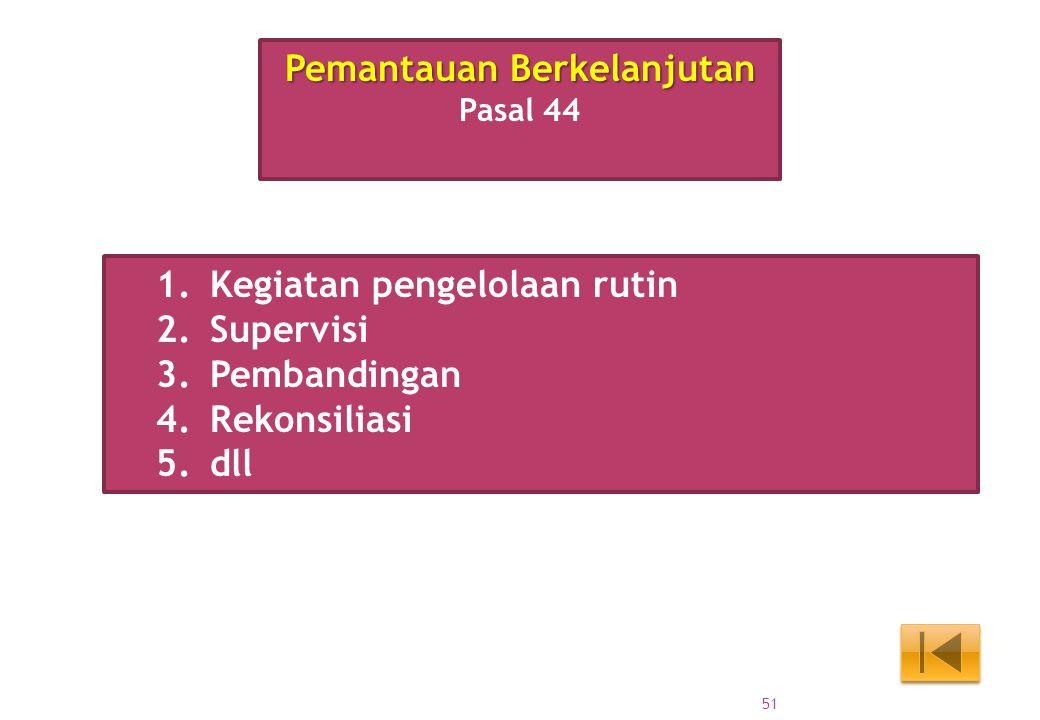 1.Kegiatan pengelolaan rutin 2.Supervisi 3.Pembandingan 4.Rekonsiliasi 5.dll Pemantauan Berkelanjutan Pasal 44 51