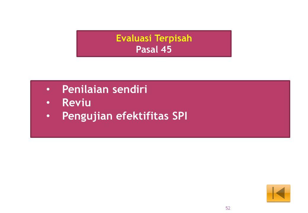 Penilaian sendiri Reviu Pengujian efektifitas SPI Evaluasi Terpisah Pasal 45 52
