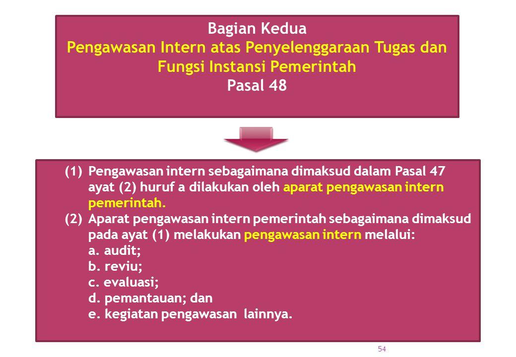 (1) Pengawasan intern sebagaimana dimaksud dalam Pasal 47 ayat (2) huruf a dilakukan oleh aparat pengawasan intern pemerintah. (2) Aparat pengawasan i