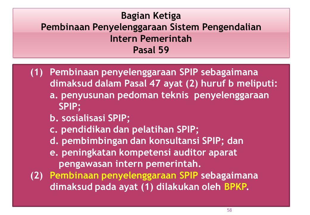 (1) Pembinaan penyelenggaraan SPIP sebagaimana dimaksud dalam Pasal 47 ayat (2) huruf b meliputi: a. penyusunan pedoman teknis penyelenggaraan SPIP; b