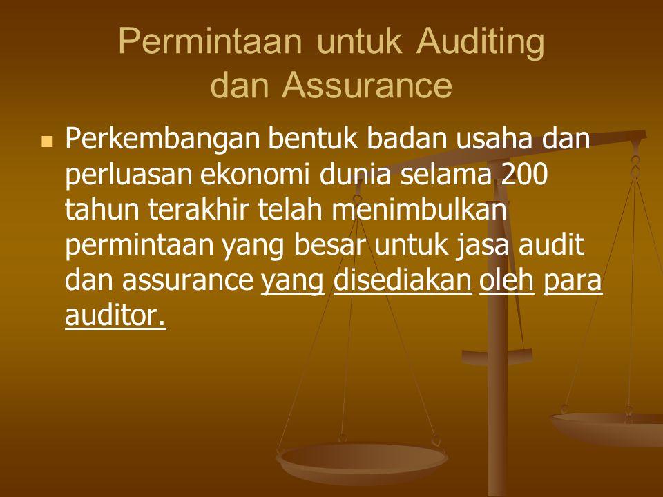 TIPE AUDITING AuditING Eksternal Dilaksanakan oleh auditor intern sebagai karyawan organisasi Dilaksanakan oleh auditor pemerintah sebagai karyawan pemerintah Govermenttal Audit Auditing Internal Dilaksanakan oleh auditor independen atas dasar kontrak kerja Mencakup berbagai tipe audit terutama audit atas laporan keuangan Mencakup audit kepatuhan dan audit operasional Mencakup audit laporan keuangan, audit kepatuhan dan audit operasional