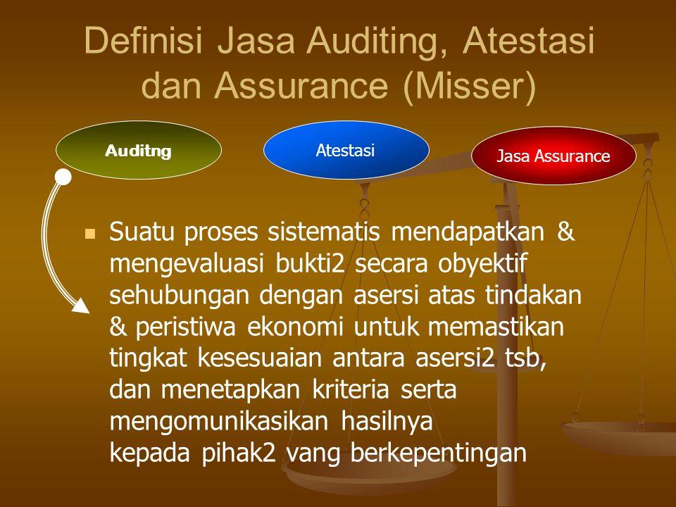 Definisi Jasa Auditing, Atestasi dan Assurance (Misser) Suatu proses sistematis mendapatkan & mengevaluasi bukti2 secara obyektif sehubungan dengan asersi atas tindakan & peristiwa ekonomi untuk memastikan tingkat kesesuaian antara asersi2 tsb, dan menetapkan kriteria serta mengomunikasikan hasilnya kepada pihak2 vang berkepentingan Auditng Atestasi Jasa Assurance