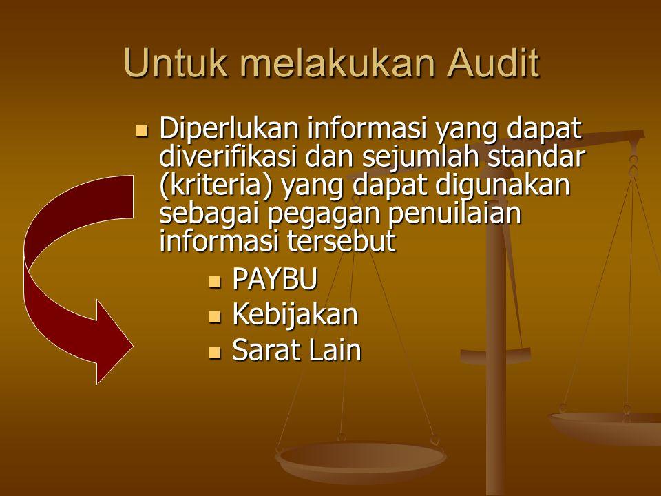 Untuk melakukan Audit Diperlukan informasi yang dapat diverifikasi dan sejumlah standar (kriteria) yang dapat digunakan sebagai pegagan penuilaian informasi tersebut Diperlukan informasi yang dapat diverifikasi dan sejumlah standar (kriteria) yang dapat digunakan sebagai pegagan penuilaian informasi tersebut PAYBU PAYBU Kebijakan Kebijakan Sarat Lain Sarat Lain