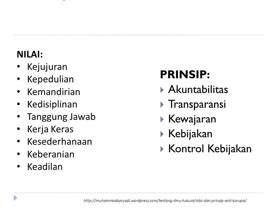 Nilai & Prinsip anti korupsi PRINSIP:  Akuntabilitas  Transparansi  Kewajaran  Kebijakan  Kontrol Kebijakan NILAI: Kejujuran Kepedulian Kemandiri