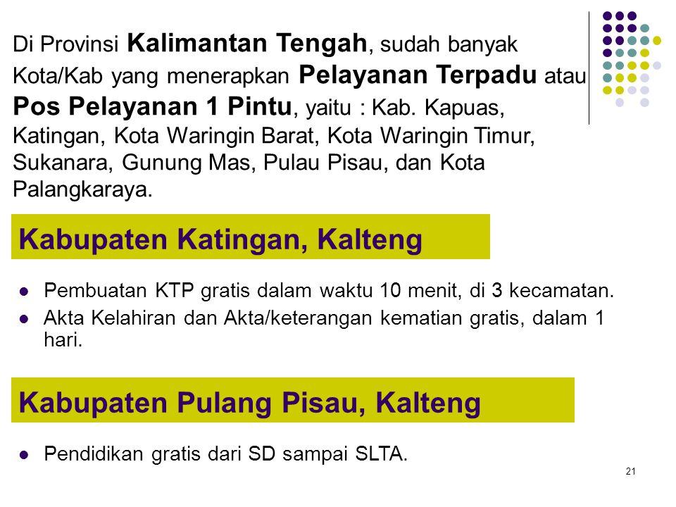 21 Kabupaten Katingan, Kalteng Pembuatan KTP gratis dalam waktu 10 menit, di 3 kecamatan. Akta Kelahiran dan Akta/keterangan kematian gratis, dalam 1