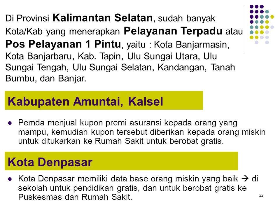 22 Kabupaten Amuntai, Kalsel Pemda menjual kupon premi asuransi kepada orang yang mampu, kemudian kupon tersebut diberikan kepada orang miskin untuk d