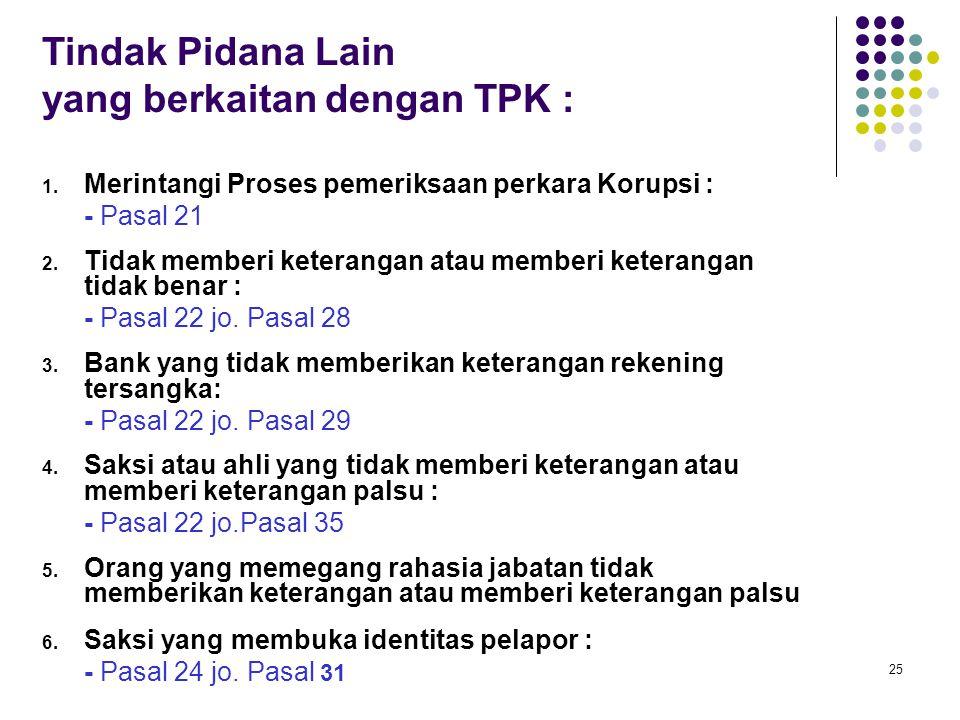 25 Tindak Pidana Lain yang berkaitan dengan TPK : 1. Merintangi Proses pemeriksaan perkara Korupsi : - Pasal 21 2. Tidak memberi keterangan atau membe