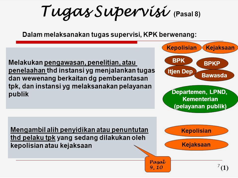 7 Tugas Supervisi (Pasal 8) Dalam melaksanakan tugas supervisi, KPK berwenang: Melakukan pengawasan, penelitian, atau penelaahan thd instansi yg menja