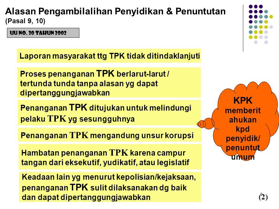 8 Alasan Pengambilalihan Penyidikan & Penuntutan (Pasal 9, 10) UU No. 30 Tahun 2002 Laporan masyarakat ttg TPK tidak ditindaklanjuti (2) Proses penang