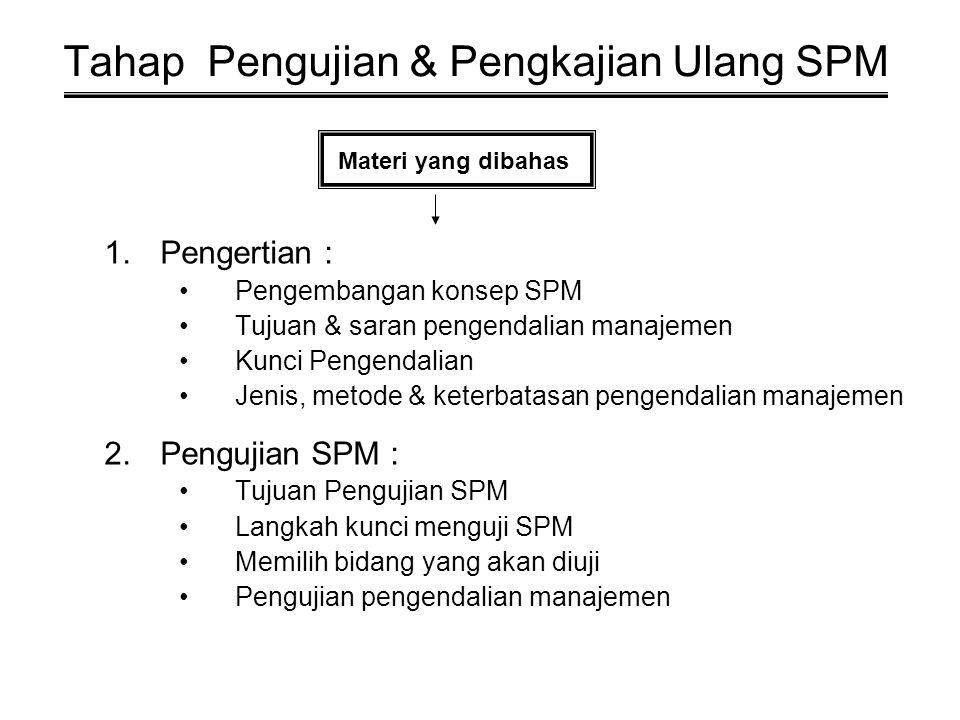 Tahap Pengujian & Pengkajian Ulang SPM 1.Pengertian : Pengembangan konsep SPM Tujuan & saran pengendalian manajemen Kunci Pengendalian Jenis, metode & keterbatasan pengendalian manajemen 2.Pengujian SPM : Tujuan Pengujian SPM Langkah kunci menguji SPM Memilih bidang yang akan diuji Pengujian pengendalian manajemen Materi yang dibahas