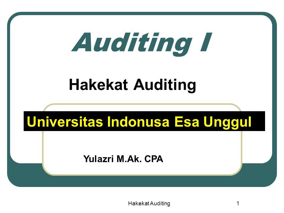 Hakekat Auditing 32 Gelar Akuntan dan Indonesia CPA SEAk3yrs CPA PTN/PTS (PPA) KAPIAPI MSi/M.Ak Register Negara Dep Keu KAP Akuntansi Bebas